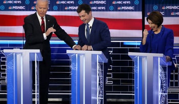 Democratic presidential candidate former Vice President Joe Biden, former South Bend, Indiana mayor Pete Buttigieg, and Sen. Amy Klobuchar (D-MN) participate in the Democratic presidential primary debate in Las Vegas, February 19, 2020.
