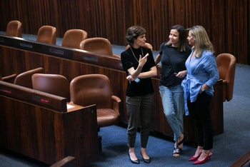 Miki Haimovich with fellow lawmakers Tamar Zandberg, left, and Shelly Yacimovich in the Knesset, May 2019.