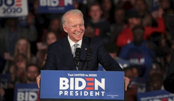 Democratic presidential candidate former Vice President Joe Biden celebrates with his supporters after declaring victory at an election-night rally at the University of South Carolina Volleyball Center on February 29, 2020 in Columbia, South Carolina