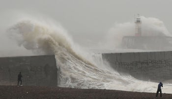 Seawalls can't cut it if we don't know how high the waters will rise, let alone how violently storms will rage: large waves caused by Storm Ciara as they hit the the seafront and wall in Newhaven, England.