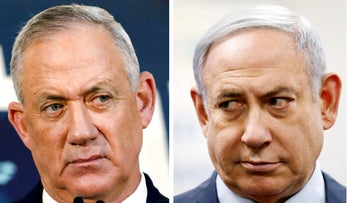 A combination picture shows Benny Gantz, leader of Blue and White party, in Tel Aviv, Israel, November 23, 2019 and Israeli Prime Minister Benjamin Netanyahu in Kiryat Malachi, Israel March 1, 2020.