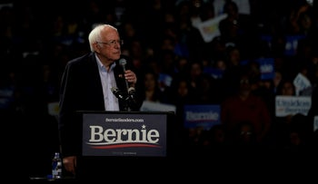 Democratic 2020 U.S. presidential candidate Senator Bernie Sanders speaks during a campaign rally in Los Angeles, March 1, 2020.