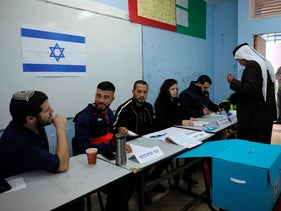 Israelis vote in the Bedouin town of Rahat near the southern Israeli city of Beersheba on March 2, 2020.