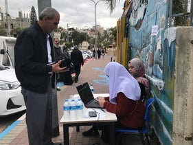 A voter outside a polling place in Kafr Qasem, central Israel, on Election Day, March 2, 2020.