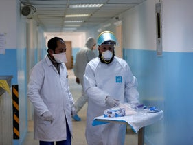 Medical staff work at a new section specialized in receiving any person who may have been infected with coronavirus, Al-Bashir Governmental Hospital in Amman, Jordan January 28, 2020