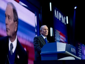 Democratic presidential hopeful Mike Bloomberg speaks to the 2020 AIPAC policy conference.
