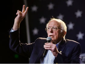 Bernie Sanders waves at supporters at a campaign event in Los Angeles, California, March 1, 2020.
