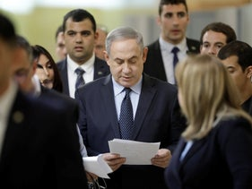 Benjamin Netanyahu at a meeting with his nationalist allies and his Likud party members at the Knesset, in Jerusalem, March 4, 2020.