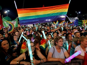 Protesters take part in a LGBT community members protest in Tel Aviv, Israel, July 22, 2018.