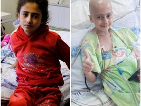 Miral Abu Amsha in a Nablus hospital, in December, and the day before she passed.