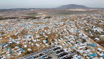 An aerial view of a camp for displaced Syrians in Deir Hassan village in Idlib Province near the Turkish border, March 5, 2020.