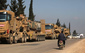 A convoy of Turkish military vehicles near the town of Hazano in the rebel-held northern countryside of Syria's Idlib Province, March 3, 2020.