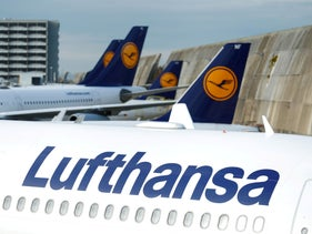 Lufthansa airplanes are seen parked on the tarmac during a strike of cabin crew union (UFO) at Frankfurt airport, Germany November 7, 2019.