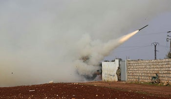 Turkish soldiers fire a missile at a Syrian government position in the province of Idlib, Syria, February 14, 2020.