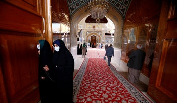 Iraqi female pilgrims wearing protective face mask at Imam Ali Shrine, following the outbreak of coronavirus, in the holy city of Najaf, Iraq February 27, 2020