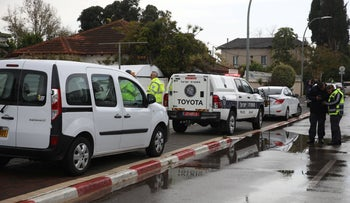 Police  at the scene of the murder of a baby by their father, Hod Hasharon, March 6, 2020