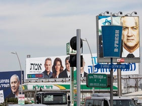 Election campaign signs outside of Tel Aviv, February 27, 2020