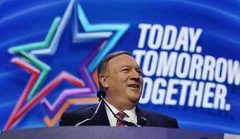 U.S. Secretary of State Mike Pompeo during the American Israel Public Affairs Committee (AIPAC) policy conference in Washington, DC, March 2, 2020.