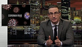 """A screenshot of the """"Last Week Tonight"""" episode in which John Oliver discusses the coronavirus."""