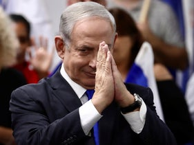 Israeli Prime Minister and head of the Likud party Benjamin Netanyahu reacts after delivering a statement in Petah Tikva, March 7, 2020.