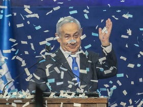 Benjamin Netanyahu gestures during his speech at the Likud party headquarters on Election Day, Tel Aviv, March 2, 2020.