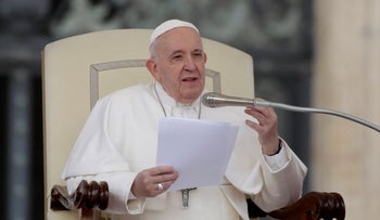 Pope Francis gives his speech during the general audience in St. Peter's Square.