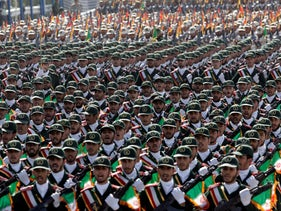 Iran's Revolutionary Guard troops march outside Tehran.