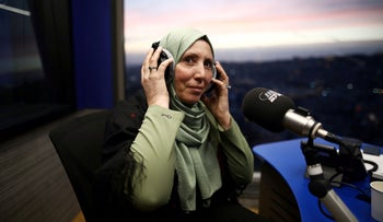 Iman Yassin Khatib participates in an interview in a radio show in Nazareth, Israel, March 5, 2020.