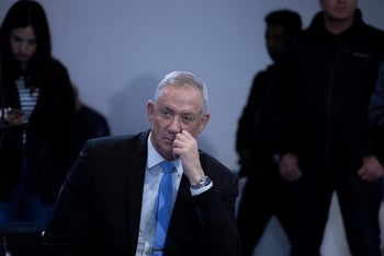 Kahol Lavan leader Benny Gantz at a party meeting, Tel Aviv, December 12, 2019