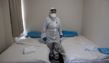 Israeli Professor Galia Rahavm, head of infectious diseases, is seen in one of the rooms where returning Israelis will stay under observation and isolation at the Chaim Sheba Medical Center at Tel Hashomer in Ramat Gan, Israel, February 19, 2020