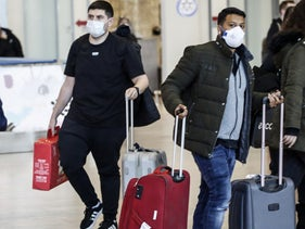 People at Ben Gurion International Airport, March 2020.