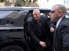 Gantz arrives for a meeting with Lieberman , March 9, 2020.