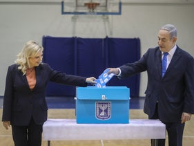 Prime Minister Benjamin Netanyahu and his wife Sara casting their ballots on Election Day in Jerusalem, March 2, 2020.