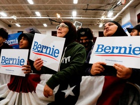 Supporters of Democratic presidential hopeful Bernie Sanders looking on during a campaign rally at Salina Intermediate School in Dearborn, Michigan, March 7, 2020.
