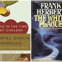A coronavirus quarantine reading list: From left to right, the covers of 'Aniara,' 'Love in the Time of Cholera,' 'The White Plague,' 'The Plague' and 'The Last Man.'
