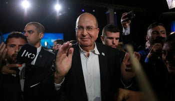 Moshe Ya'alon at Kahol Lavan headquarters in Tel Aviv after the election, March 3, 2020.