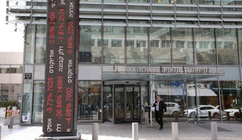 Tel Aviv stock exchange during the coronavirus outbreak, March 9, 2020.