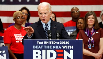 Democratic presidential candidate former Vice President Joe Biden speaks at a campaign event in Columbus, Ohio, March 10, 2020.