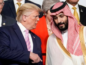 U.S. President Donald Trump speaks with Saudi Arabia's Crown Prince Mohammed bin Salman in Osaka, Japan, June 28, 2019