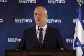 Kahol Lavan leader Benny Gantz delivers a statement in the central Israeli city of Ramat Gan, March 7, 2020.