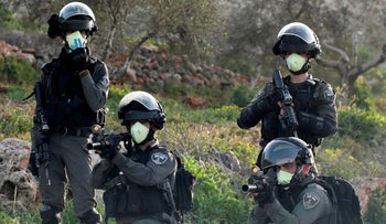 Israeli security forces in the West Bank, March 11, 2020.