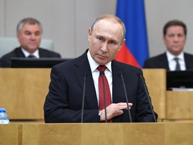 Russian President Vladimir Putin addresses lawmakers during a session of the State Duma, Russia's lower house of parliament, Moscow, March 10, 2020