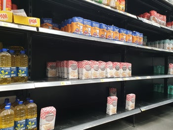 An Israeli store with a product shortage after consumers started panic buying due to the coronavirus, March 10, 2020.