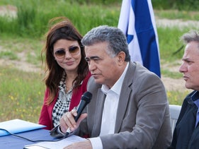 Orli-Levi-Abekasis pictured with Amir Peretz during the campaign for the 2020 election.