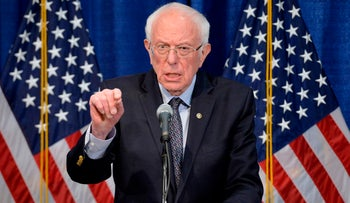 Senator Bernie Sanders speaks to the press after loosing much of super Tuesday to Joe Biden, Burlington, Vermont, March 11, 2020.