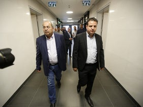Joint list co-leaders Ayman Odeh and Ahmad Tibi, October 10, 2019