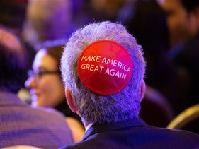 A supporter listens to Donald Trump as he address the Republican Jewish Coalition Annual Leadership Meeting at The Venetian Resort in Las Vegas, NV, April 6, 2019.