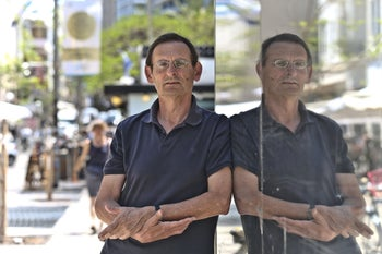 """Dov Khenin in Tel Aviv, May 2019. He likes to say that """"politicians don't jump into pools that are empty."""""""