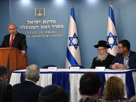 Netanyahu during a press conference about the coronavirus outbreak, March 2020.