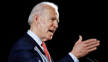 Democratic presidential candidate Joe Biden speaking in Wilmington, Delaware, March 12, 2020.